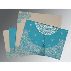 Give your wedding a special feel with our exclusive Blue, Handmade Cotton Paper, South Indian Wedding Cards - SO-8234K