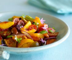 Heirloom Tomato, Summer Peach, and Fresh Herb Gazpacho Salad - Peaches and tomatoes are in season together, and they taste great together, with the sweetness of the peach balancing the acidity of the tomato—so go ahead and turn them into a salad. http://www.finecooking.com/recipes/heirloom-tomato-peach-salad.aspx