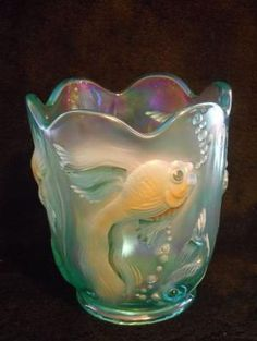Fenton Opalescent Atlantis Carnival Glass Goldfish Koi Fish Vase Handpainted by Hercio Dias