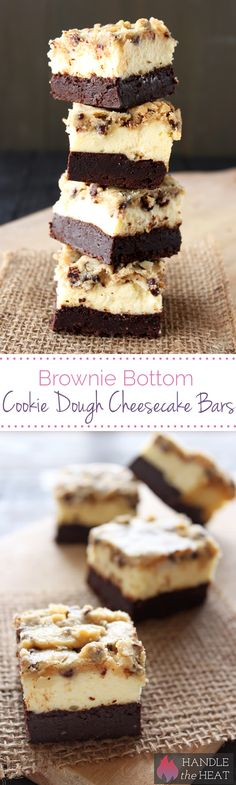 Outrageous Brownie Bottom Cookie Dough Cheesecake Bars have a layer of fudgy brownie, cheesecake filling, and a chocolate chip cookie dough topping!