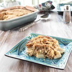 Gwen's Old-Fashioned Potato-Beef Casserole Recipe : Trisha Yearwood : Food Network - minus bread crumbs and sub GF flour. make as a freezer casserole maybe. Beef Casserole Recipes, Potato Casserole, Potato Recipes, Casserole Dishes, Beef Recipes, Cooking Recipes, Family Recipes, Hamburger Casserole, Hamburger Recipes