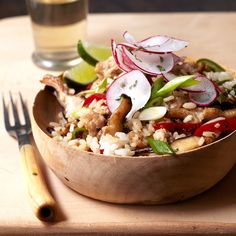 Ground pork, rice, bell peppers, and shiitake mushrooms are cooked in a single pan and flavored with soy sauce, lime juice, and cayenne. Quick, delici...