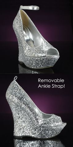 AALIYAH by PINK: Wow, this prom party shoe is a showstopper! Comfortable and stable wedges in silver glitter metallic for glamorous and trendy sparkle. These sparkly prom shoes will go with any party dress! Great for a night out on the town, too. $75 http://www.promshoes.com/silver-prom-shoes/pink/aaliyah-7871