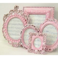 Picture Frames Shabby Chic Picture Frame Set Ornate Frames Pink Home... ($165) ❤ liked on Polyvore featuring home, home decor, frames, frames & background, wedding picture frames, shabby chic home decor, pink picture frames, pink home decor and ornate frames