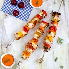 chicken kebabs with roasted pepper dip recipe get grillin online food ...