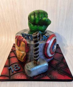 Avengers Super hero cake. Ironman, Thor, Spiderman, Hulk & Cpt America