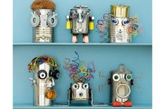 DIY robots made out of soup cans. great party for kids to make