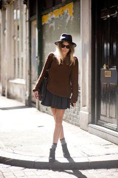Transitional weather inspiration… oversize knit + leather skirt + ankle boots (with socks) + shoulder bag + sunglasses + hat.