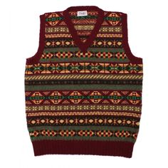 Drakes of London Shetland Fair Isle V Neck Sweater Vest