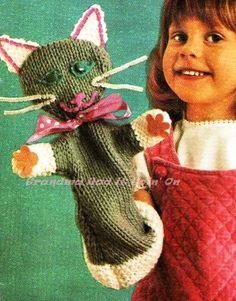 Vintage Cat Hand Puppet PDF Knitting by GrandmaHadItGoinOn