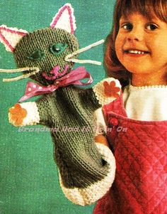 Vintage Cat Hand Puppet - PDF Knitting Pattern - PDF Instant Download - Kitten Animal Toy - Digital Pattern - Childs Hand Toy - Play Toy