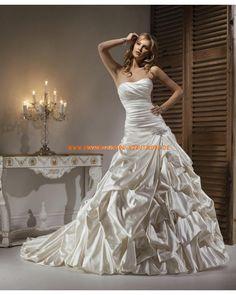 Elegante schöne Brautkleider aus Taft A-Linie mit Kapelleschleppe Reifrock