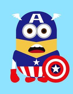Minions como super-heróis da Marvel e DC Comics
