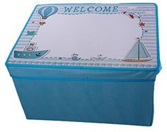 Kid's Blue Collapsible Storage Bin And Play Mat With White Board Lid…