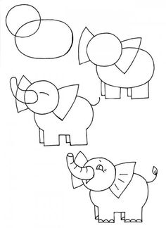 Children and creativity. Elementary drawing lessons for kids - A Little Elephant / How to Draw. Painting and Drawing for Kids Drawing Lessons For Kids, Art Drawings For Kids, Drawing For Beginners, Doodle Drawings, Cartoon Drawings, Easy Drawings, Animal Drawings, Doodle Art, Art Lessons