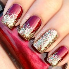 Red Nails With Glitter christmas glitter nails christmas nails christmas nail art christmas nail ideas Fancy Nails, Love Nails, How To Do Nails, Pretty Nails, Classy Nails, Simple Nails, How To Nail Art, Holiday Nail Art, Christmas Nail Art Designs
