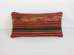 """12x24""""Kilim Lumbar Pillow Kilim pillow Lumbar Kilim Pillow Lumbar Throw Pillow Turkish Cushion Outdoor Floor sham Bohemian accent decorative..."""