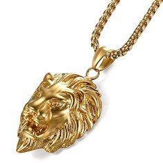 374d4bf4b798 JewelryWe Bijoux Pendentif Collier Homme Tête de Lion Chaîne 55cm Acier  Inoxydable Fantaisie Couleur Or Avec Sac Cadeau  Amazon.fr  Bijoux