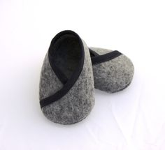 BABY FELT SHOES Boy and Girl - Newborn also available - Grey 100% Wool Felt Kimono style. $22.00, via Etsy.