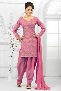 Pink Cotton Patiala Salwar Suit with Chiffon Dupatta Price:-£35.00 Pink Cotton, semi stictch patiala suit. Sweetheart neck, Above knee length, full sleeves kameez. Pink cotton patiala salwar. Pink chiffon dupatta. It is perfect for casual wear, festival wear, party wear and wedding wear wear. http://www.andaazfashion.co.uk/pink-cotton-patiala-salwar-suit-with-chiffon-dupatta-dmv13547.html