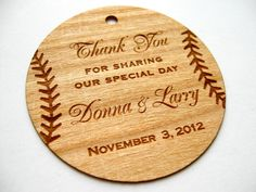 Baseball Thank You Tags Wooden Gift Wood Personalize