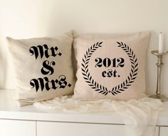 mr and mrs burlap Pillow covers make the perfect gift for the bride and groom.  Cute Designer cushion - Burlap pillow cover 40 x 40cm /15.7 in x 15.7