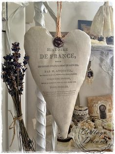 Linen Heart with French Print