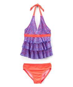 Purple & Orange Crochet Tankini Top & Bottoms - Girls