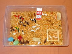 Rosie's Walk - Fall on the farm sensory bin using dried corn as the base and Safari Ltd TOOB figures || Gift of Curiosity