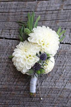 White Dahlia Wedding Corsage.