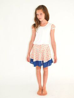 Designer girl clothing - Alex & Ant Road Trip Print Skirt - $54.95 - Stunning girls print skirt from the Road Trip collection by Alex and Ant!  Made from light weight cotton and their loose fit cut makes it the perfect summer skirt!  Team with the Road Trip Frill Tee! Designer girl clothing - Alex & Ant