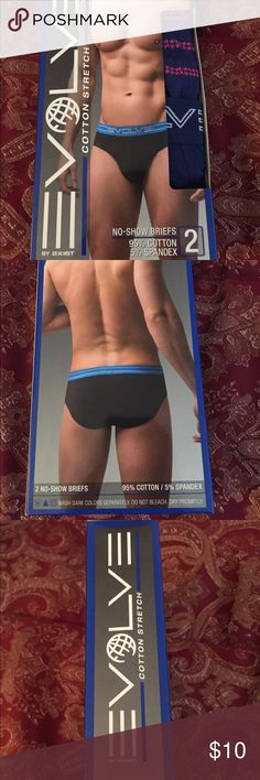 Men's Evolve Cotton Stretch Briefs Underwear 2pk Men's Evolve Cotton Stretch No Show  Briefs Underwear by 2xist....2 pack.....colors are shown in pictures....made in Bangladesh.....95% Cotton and 6% spandex....brand new in box! Size Large. 2xist Underwear & Socks Briefs
