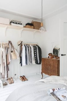 open closet space, in white Home Bedroom, Bedroom Decor, Master Bedroom, Bedroom Ideas, Bedroom Furniture, Ikea Bedroom, No Closet Bedroom, Nordic Bedroom, Closet Wall