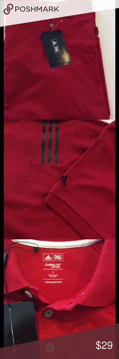 Adidas climalite golf shirt NWT Beautiful men's golf shirt. See pictures for stripe design on back. Sleeve has adidas logo embroidered. Adidas Shirts Polos