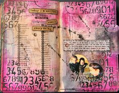 art journal page with video