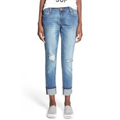 Junior STS Blue 'Tomboy' High Rise Boyfriend Jeans (530 ZAR) ❤ liked on Polyvore featuring jeans, pismo beach, high waisted ripped boyfriend jeans, high waisted distressed boyfriend jeans, white high waisted jeans, high waisted distressed jeans and ripped jeans