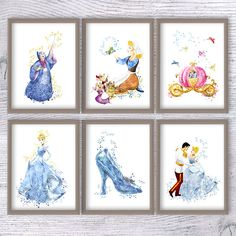 Hey, I found this really awesome Etsy listing at https://www.etsy.com/listing/533633853/cinderella-watercolor-print-set-of-6