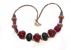 Bead Necklace Merlot Wine Beads Carved by BEADEDNECKLACESHOPPE