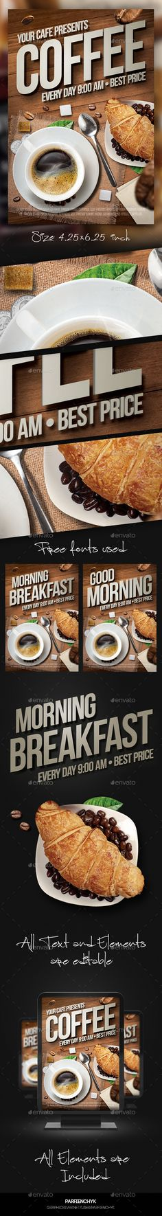 Coffee Flyer Template PSD #design Download: http://graphicriver.net/item/coffee-flyer-template/13604424?ref=ksioks