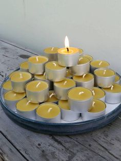 Check out this item in my Etsy shop https://www.etsy.com/au/listing/546572625/50-large-beeswax-tealights-in-metal-cups