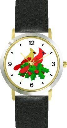 Red & Yellow Cardinals Bird in Christmas Mistletoe 2 - JP - WATCHBUDDY® DELUXE TWO-TONE THEME WATCH - Arabic Numbers - Black Leather Strap-Size-Children's Size-Small ( Boy's Size & Girl's Size ) WatchBuddy. $49.95. Save 38%!