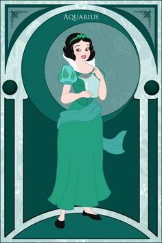 Aquarius - Snow White / Aquário - Branca de Neve -----------------------------------------------------------------------------> The Signs of the Zodiac, Represented by Disney Princesses Disney Magic, Walt Disney, Disney Amor, Disney Love, Disney E Dreamworks, Disney Pixar, Disney Characters, Disney Princesses, Disney Dolls