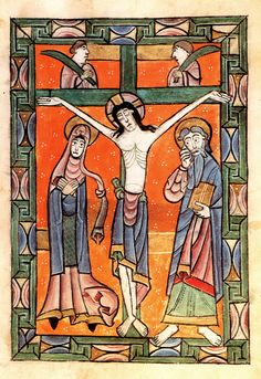 This image is taken from a psalter produced in the North of England at the end of the 12th century. It is one of sixteen illuminations in an angular figure style, with bright colours, figures not fully drawn, monumental poses, stylized facial expression and bright colouring. Geometric patterns provide a well-defined frame.