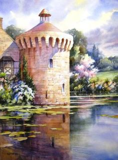 Watercolor Painting Demonstration Step-by-step Painting Techniques – Scotney Tower – Roland Lee