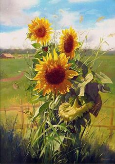 Sunflower Pictures, Sunflower Art, Watercolor Sunflower, Watercolor Flowers, Watercolor Paintings, Art Floral, Sunflowers And Daisies, Sun Flowers, Beautiful Paintings