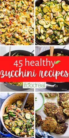 Here are 45 healthy zucchini recipes that are easy to follow, use simple wholesome ingredients, and are packed with flavour! Enjoy your zucchini all year round whether it's the main dish, a side dish, or even a baked dessert! Healthy Side Dishes, Vegetable Side Dishes, Healthy Summer Dinner Recipes, Healthy Recipes, Clean Eating Recipes, Healthy Eating, Healthy Food, Delicious Crockpot Recipes, Easy Family Meals