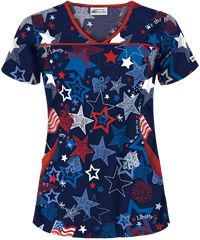UA Liberty and Justice Navy Print Scrub Top(Vet Tech Shoes) Veterinary Scrubs, Medical Scrubs, Nurse Scrubs, Cute Nursing Scrubs, Stylish Scrubs, Scrubs Uniform, Phlebotomy, Dental Assistant, Dental Hygiene