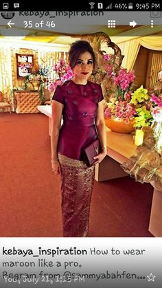 Maroon Kebaya Lace, Kebaya Hijab, Kebaya Brokat, Kebaya Dress, Batik Kebaya, Blouse Batik, Batik Dress, Myanmar Traditional Dress, Traditional Dresses