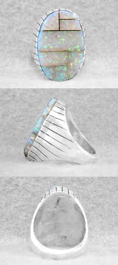 Rings 98500: Mens Ring Size 11 Opal White Lab Navajo Sterling Silver Native American U -> BUY IT NOW ONLY: $159.95 on eBay!