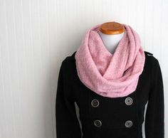 Infinity Scarf  Pink Winter Circle Loop Scarf by SweeneyBoutique, $30.00